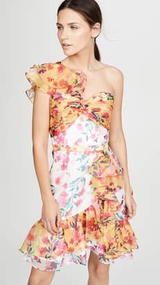 Marchesa One Shoulder Colorblock Cocktail Dress
