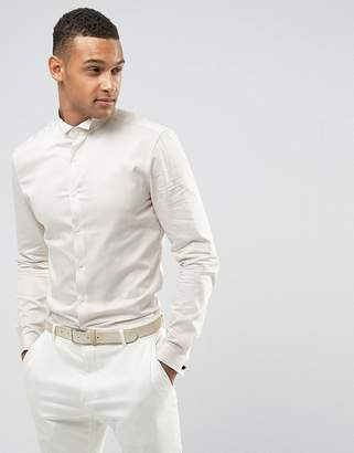 Asos Wedding Skinny Sateen Shirt In Off White With Wing Collar And Double Cuff