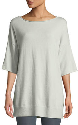 Lafayette 148 New York Cashmere Relaxed Short-Sleeve Pullover