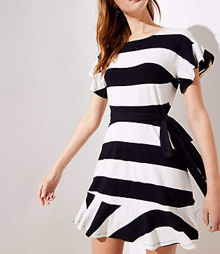 LOFT Striped Tie Waist Flounce Dress