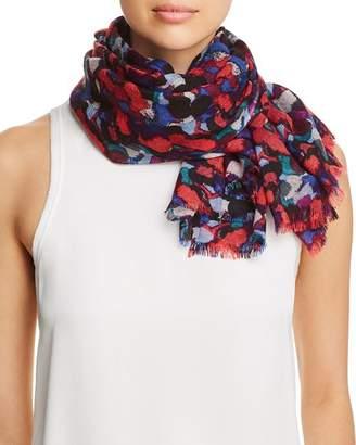 Aqua Brushstroke Print Wool Scarf - 100% Exclusive