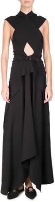 Proenza Schouler Cross-Front Tie-Waist Maxi Dress, Black