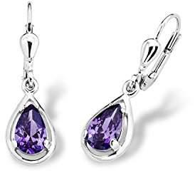 Amor women's earrings, 925 silver rhodium-plated zirconia, purple, 2.5 cm – 2017172