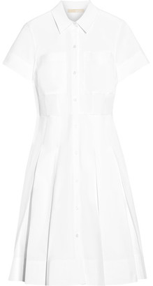 MICHAEL Michael Kors - Pleated Stretch-cotton Poplin Shirt Dress - White $165 thestylecure.com