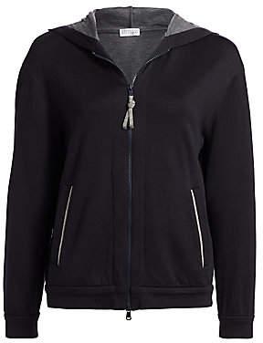 Brunello Cucinelli Women's Cotton & Silk Zip-Front Hoodie