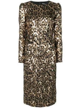 Dolce & Gabbana Sequined Leopard-Print Midi Dress