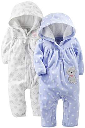 05f2907c75 Carter s Simple Joys by Baby Girls  2-Pack Fleece Hooded Jumpsuits