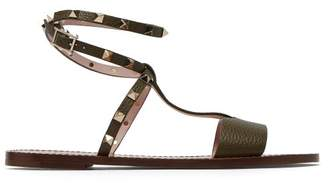 Valentino Rockstud Ankle Strap Leather Sandals - Womens - Khaki