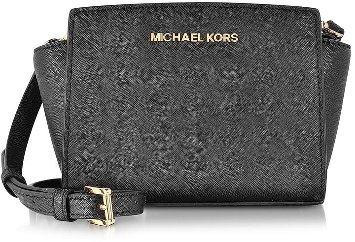 MICHAEL Michael KorsMichael Kors Black Saffiano Leather Selma Mini Messenger Bag