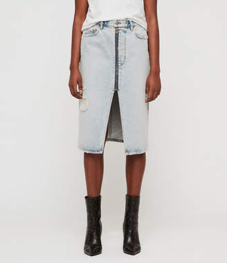 AllSaints Mabel Long Denim Skirt