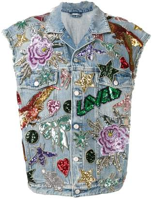 Gucci sequin-embellished denim gilet