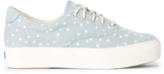 Keds Light Blue Rise Denim Star Wedge Sneakers