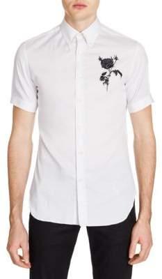 Alexander McQueen Embroidered Optical Button-Down Shirt