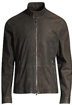 John Varvatos Men's Zip-Up Goat Leather Jacket