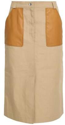 Yves Salomon Leather-Trimmed Cotton-Blend Skirt