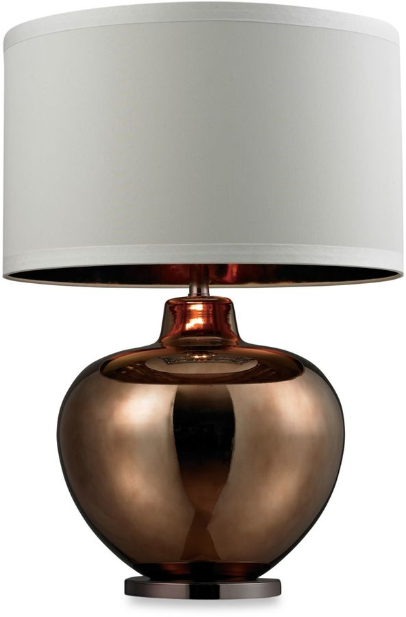 Bed Bath & Beyond Bronze Plated Glass Table Lamp