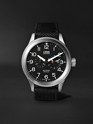 Oris Big Crown ProPilot Automatic Chronograph 44.7mm Stainless Steel and NATO Canvas Watch - Men - Black
