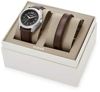 Fossil Editor Three-hand Brown Leather Watch And Bracelet Gift Set
