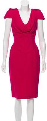 Alexander McQueen Virgin Wool Cap Sleeve Dress Fuchsia Virgin Wool Cap Sleeve Dress