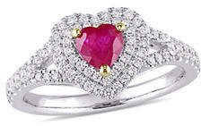 HBC CONCERTO 14K White Gold, Yellow Gold, Ruby And 0.4 TCW Diamond Double Halo Heart Ring