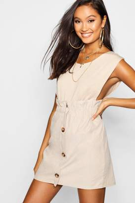 boohoo Woven Linen Button Through Mini Skirt