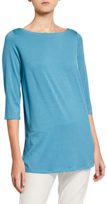 Eileen Fisher Plus Size Boat-Neck 3/4-Sleeve Jersey Tunic