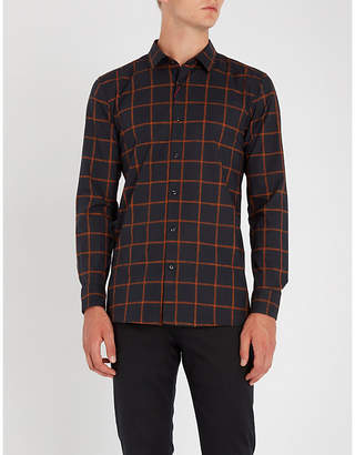 HUGO Checked extra slim-fit cotton-poplin shirt