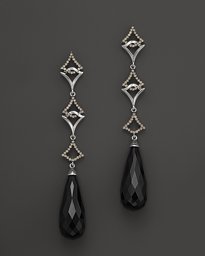 Badgley Mischka Onyx With Brown Diamond Drop Earrings