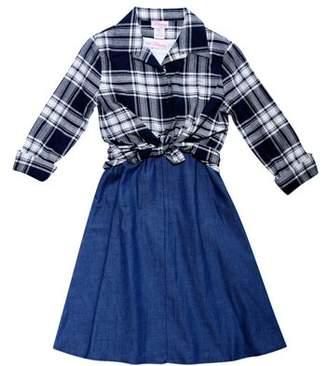 Bloome Chambray Slip Dress, Tee & Plaid Shirt, 3-Piece Set (Big Girls)
