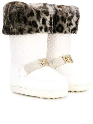 Roberto Cavalli Junior TEEN faux fur trim boots