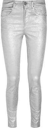 Etoile Isabel Marant Ellos Metallic Coated High-Rise Skinny Jeans