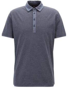 BOSS Hugo Polo shirt in melange jersey cotton collection print XL Blue