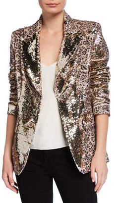 Berek Petite Sequin Leopard-Print Two-Button Blazer