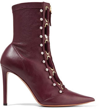 Elliot Embellished Leather Ankle Boots - Burgundy