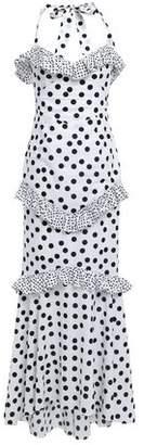 De La Vali Alementra Ruffle-trimmed Cotton Halterneck Maxi Dress