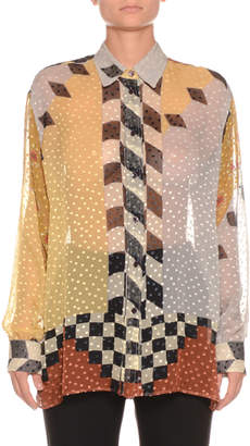 Etro Sheer Checkerboard Dot Shirt