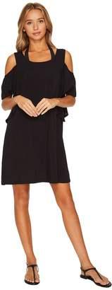 MICHAEL Michael Kors Geometric Glamour Solids Cold Shoulder Ruffle Dress Cover-Up Women's Swimwear