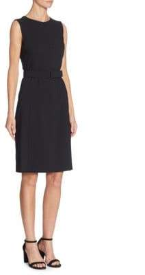 Akris Punto Belted Wool Sheath Dress