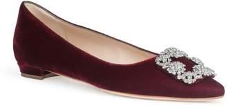 Manolo Blahnik Hangisi Flat dark red velvet FMC ballerina