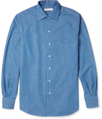 Loro Piana Andre Cotton-Chambray Shirt - Blue