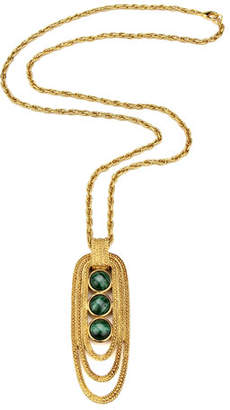 Ben-Amun Triple-Malachite Pendant Necklace