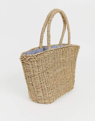 Hat Attack stripe lined basket bag
