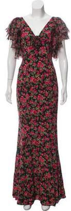 Dolce & Gabbana Fluted Rose Print Dress