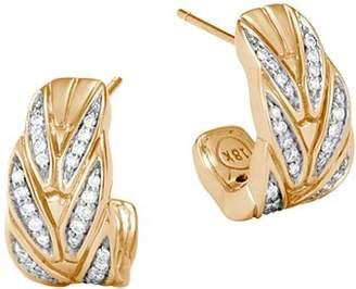 John Hardy 18K Yellow Gold Modern Chain Pavé Diamond Small J Hoop Earrings