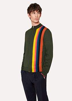 Paul Smith Men's Racing Green Merino-Wool Zip Cardigan With Large 'Artist Stripe'