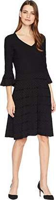 Gabby Skye Women's 3/4 Bell Sleeve V-Neck Sweater Fit and Flare Dress