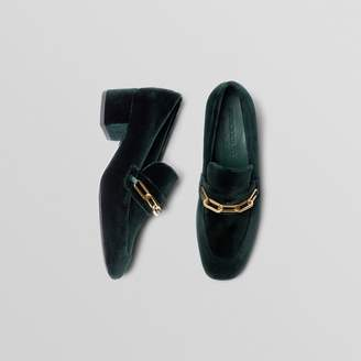 Burberry Link Detail Velvet Block-heel Loafers