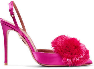 Aquazzura Powder Puff Pompom-embellished Satin Slingback Pumps - Magenta