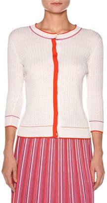 Agnona Silk Cotton Knit Multicolor Plisse Skirt