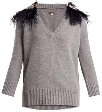 Johanna Ortiz - Hierbatera Feather Brooch Cashmere Sweater - Womens - Grey